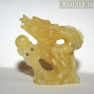 Амулет НЕФРИТОВЫЙ ДРАКОН - 3D резьба по камню. Статуэтка - подвеска, Тибет