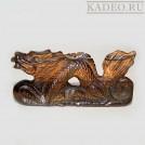 Амулет ДРАКОН - 3D резьба по камню ТИГРОВЫЙ ГЛАЗ. Статуэтка - подвеска, Тибет