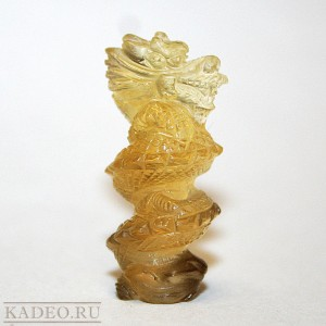 ЦИТРИН природный натуральный. 3D резьба по камню ДРАКОН, фигурка - подвеска из Тибета