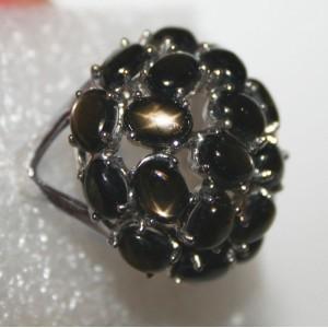 ЗВЁЗДЧАТЫЙ чёрный САПФИР натуральный.  Кольцо ГАЛАКТИКА