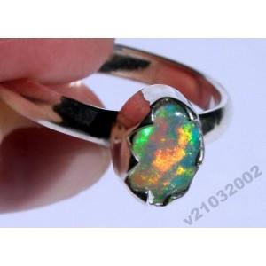 3 ct Мексиканский многоцветный ОПАЛ кольцо р.19